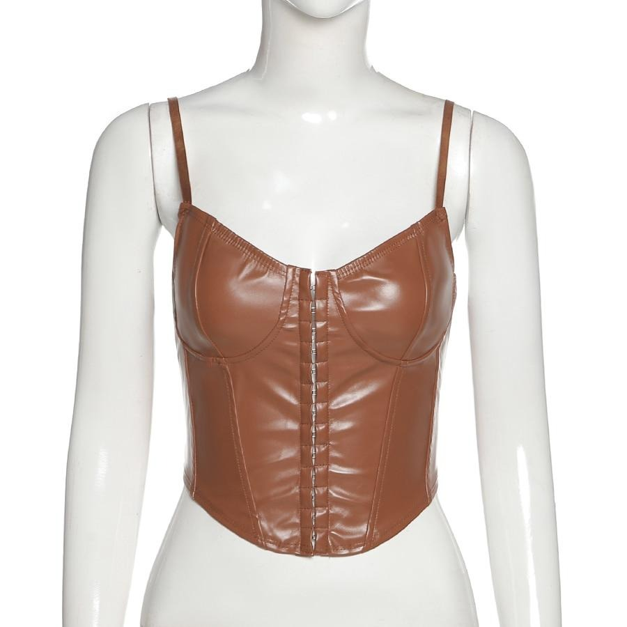 Faux Leather Lace Up Halter Top