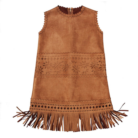 Wild West Girls Faux Suede Fringed Dress