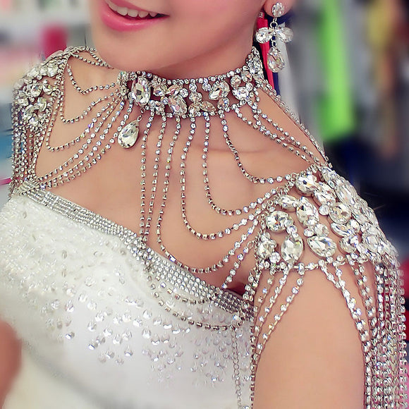 Handmade Crystal Bridal Shoulder Necklace | Body Jewellery