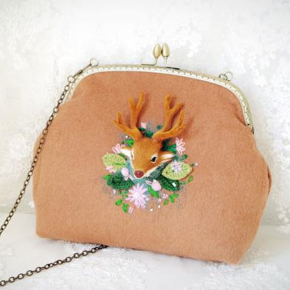 Handmade Wool Deer Embroidered Shoulder Bag