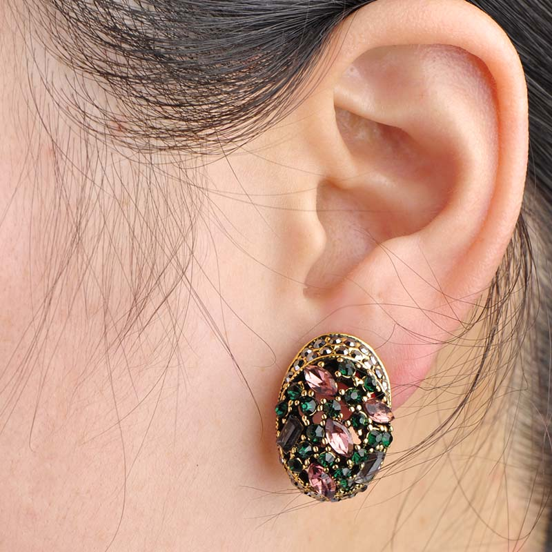 Vintage Inspired Crystal Stud Earrings with French Hooks