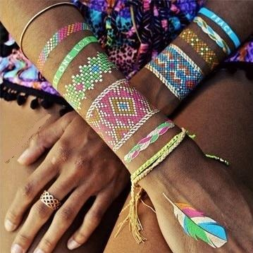 Colourful Metallic Friendship Bands Waterproof Temporary Tattoos