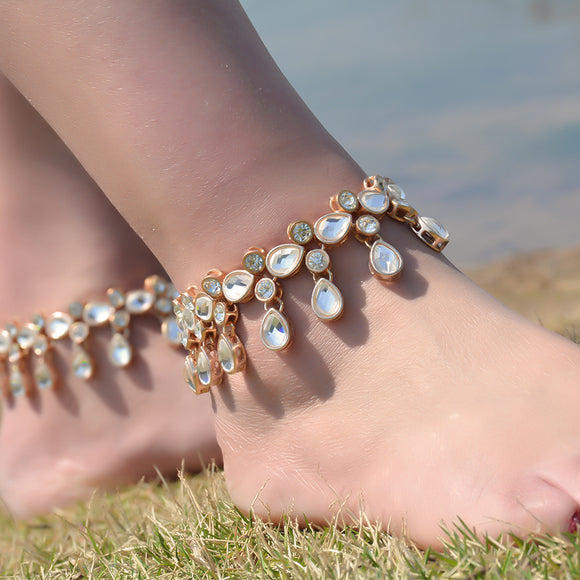 Crystal Anklet Bracelets | Pair Set | Bridal Ankle Cuff Jewellery | Beach Weddings | Festival Wear