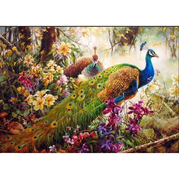Peacocks in Blooms | DIY Paint By Numbers