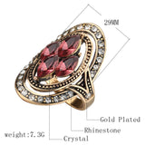 Crystal Rings | Antique Gold Crystal Ring |  Vintage Inspired Jewellery