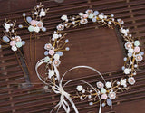 Ceramic Flower Wreath Crown and Matching Hairpins