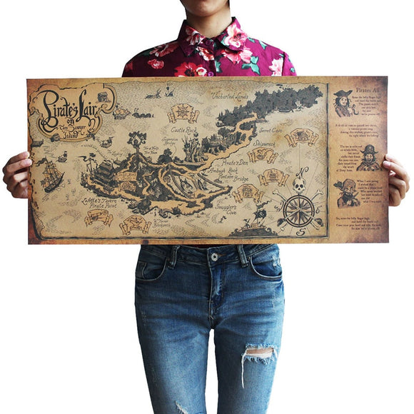 Vintage Style Pirate World Map Poster | Wall Sticker | Boys Room Decor | 72 x 33 cms