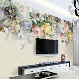 Hand Painted Rose Flower Wall Mural Wallpaper