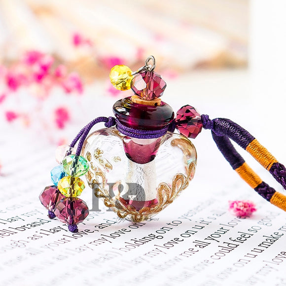 Handmade Murano Crystal Glass Essential Oil Diffuser | Colourful Heart Perfume Bottle Necklace