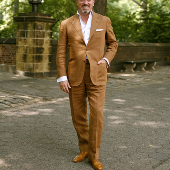 Brown Linen Suits | Men Summer Beach Suit | 2 Piece mens suits