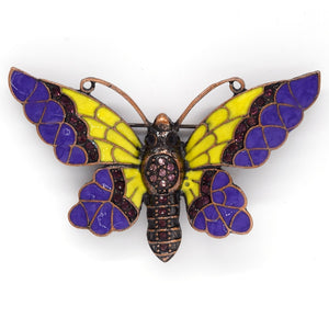 Purple Enamel Butterfly Brooch | Antique Copper with Rhinestones