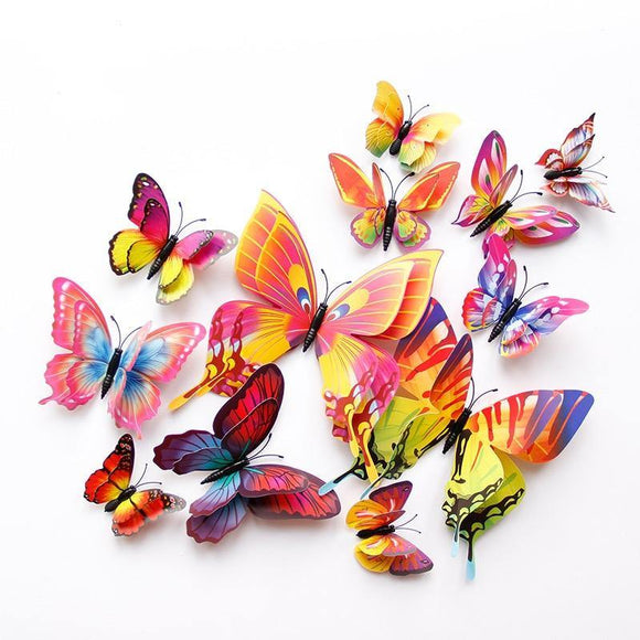 12 Double Layer Butterfly Wall Sticker Magnets