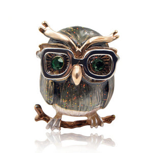 Cute Green Eyes Owl Brooch | Enamel Pin