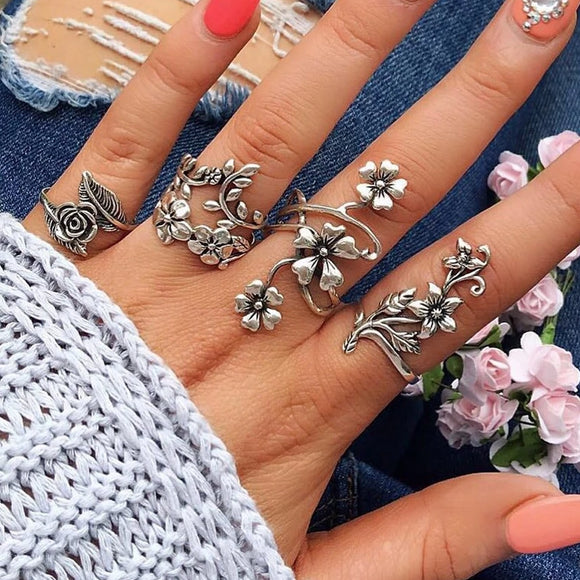 Vintage Art Nouveau Inspired Carved Rings Set | 4 Pcs/set | Garden Flowers