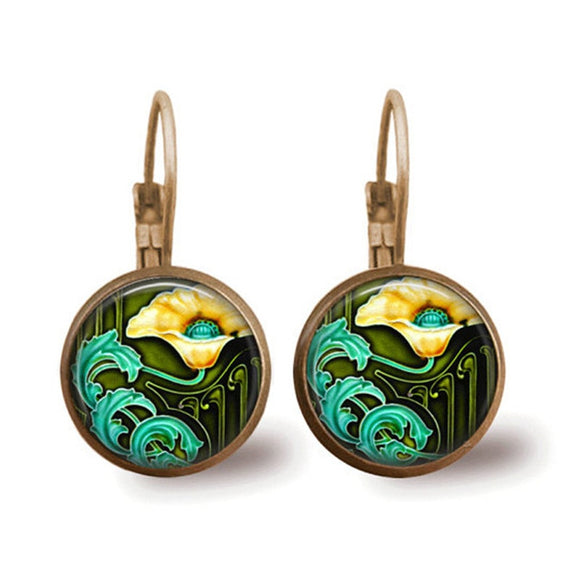 Art Nouveau Glass Dome Earrings