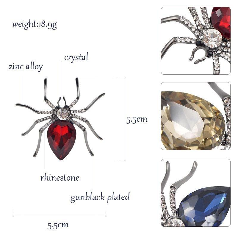 Crystal Spider Brooches | 3 Colours - Woodland Gatherer