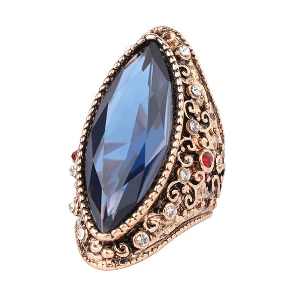 Bohemian Crystal Antique Gold Ring | Blue Stone | 42mm