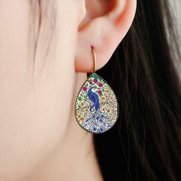 Handmade Round Glass Water Drop Earrings | Whimsical Paintings