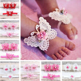 3PCS Headband & Barefoot Sandals Sets for Baby Girls