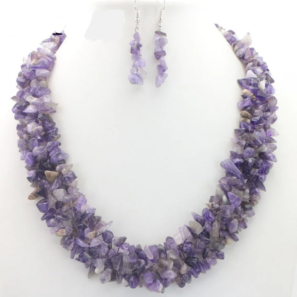 Natural Semi-Precious Gem Stone Necklaces + Earrings Sets | 11 to choose from