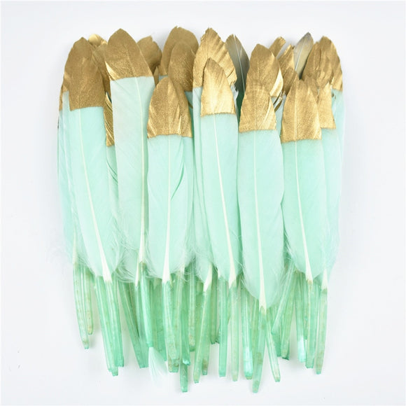 Gold Dipped Duck Feathers | 10-15CM | 4-6inch | 30 Colours | DIY Crafting Decor