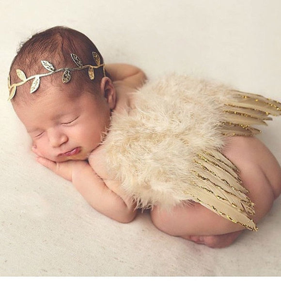 Itty Bitty Golden Angel Wings + Headband for Itty Bitty Bubbas | Photoshoot Prop