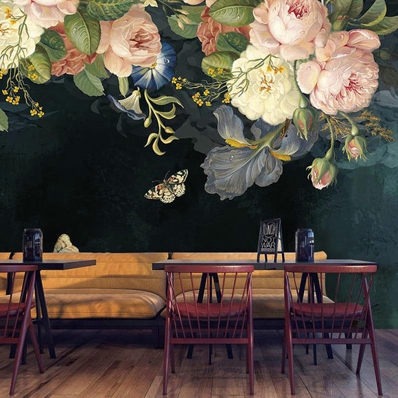 Peonies Oil Painting Black Mural Wallpaper | Mural Silk Cloth Waterproof Wallpaper
