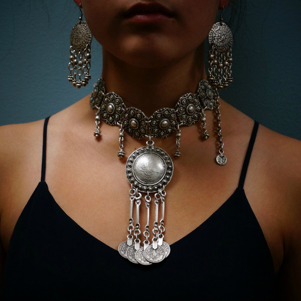 Vintage Silver Statement Necklace & Earrings Set | Choker Necklace