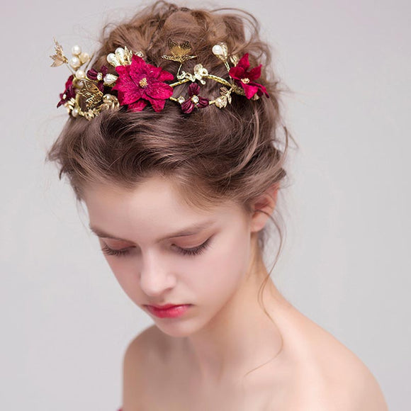 A Midsummer Eve | Hair Jewellery Gold & Red Crown