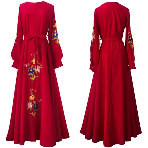 Vintage Indie Folk Embroidered Long Sleeve Maxi Dress | Red, Yellow, White or Navy Blue