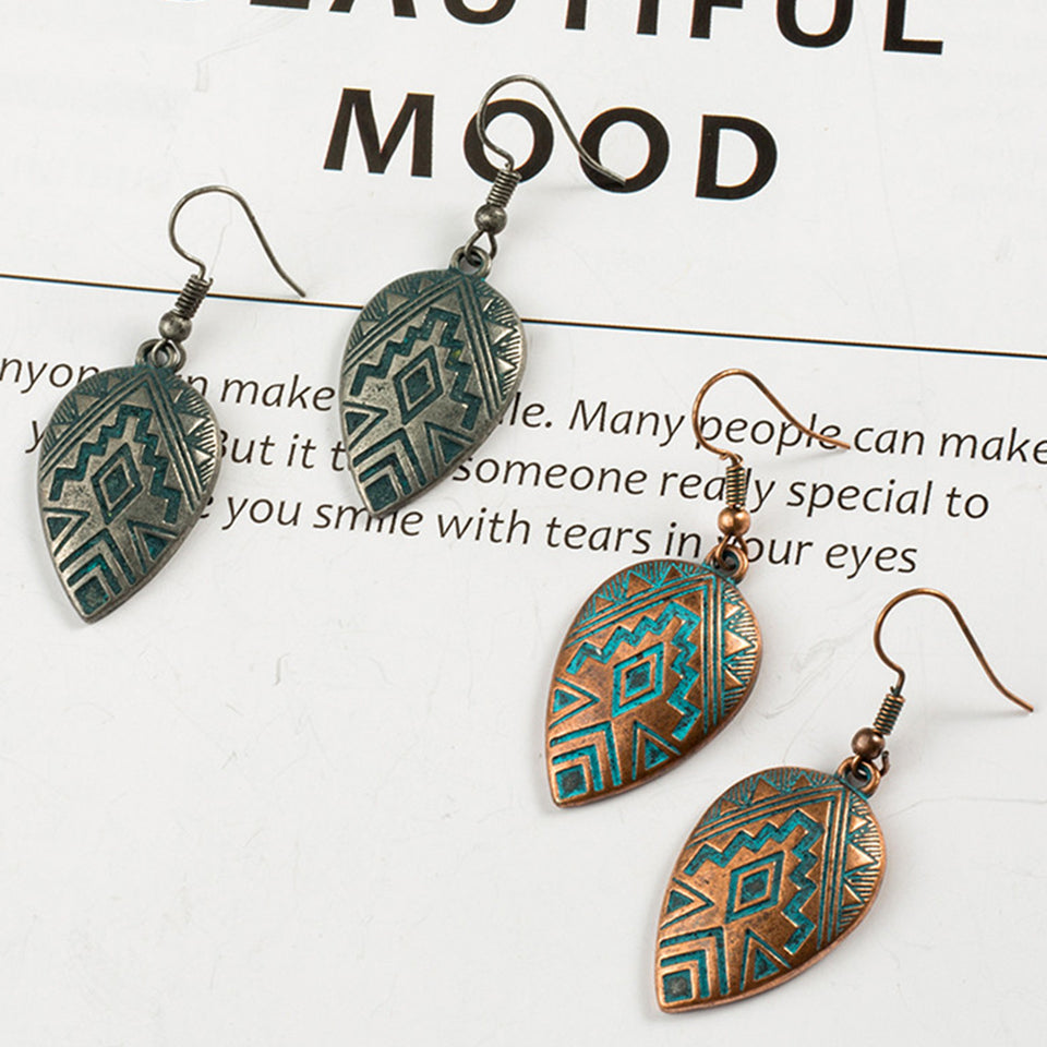 Aztec earrings Jewellery | Copper Patina Style | 7 to choose from