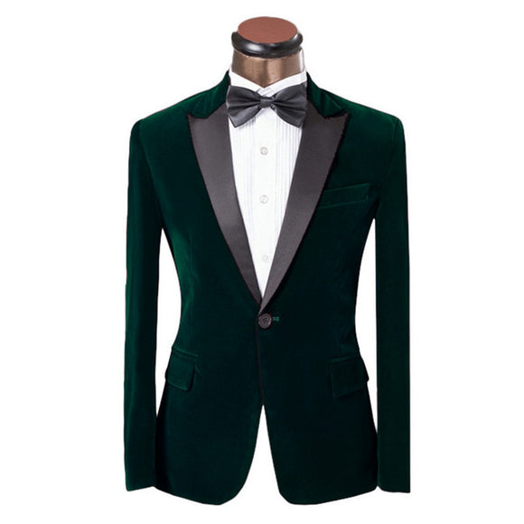 Peak Lapel Velour Coat Slim Fit Men Suit | Formal Groom Wedding Tuxedos | Jacket + Pants