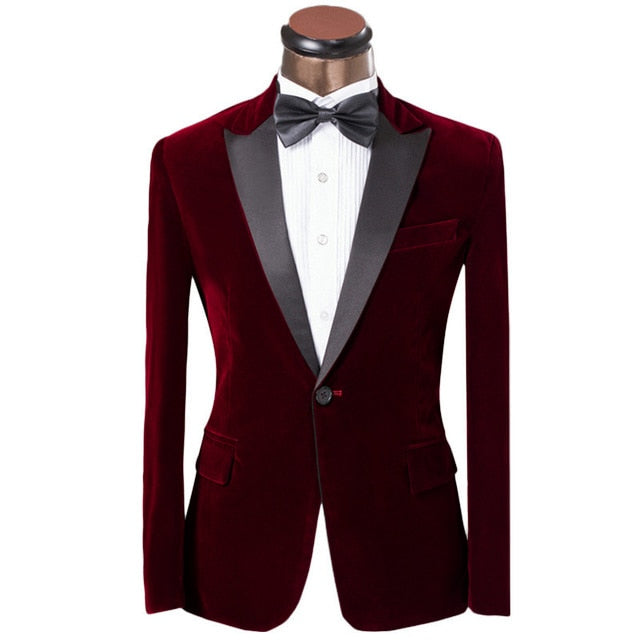 Peak Lapel Velour Formal Jacket and Pants Two Piece Suit