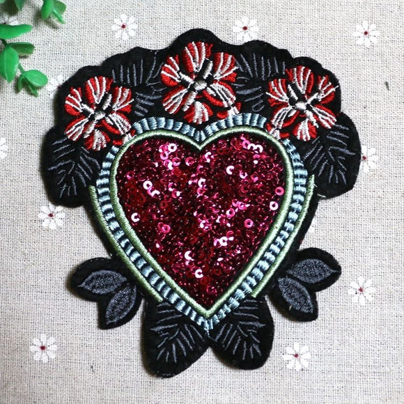 Flower Heart Sequined Iron On Patches