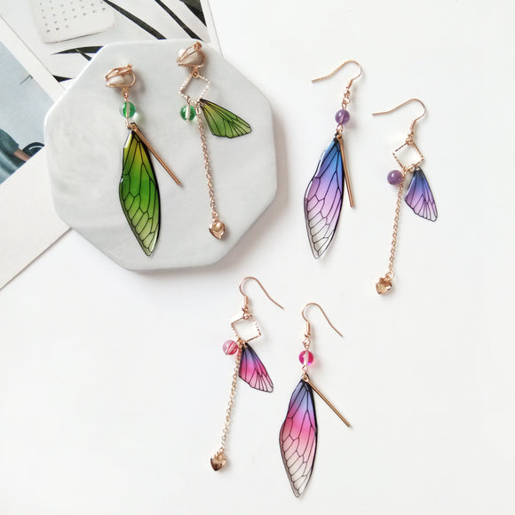 Beautiful Fairy Tale Butterfly Wing Earrings | Asymmetric