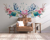 Deer Head Floral Silk Wallpaper