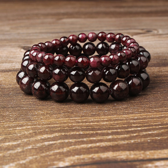 Red Garnet Semi-Precious Gem Stone Bracelet | 4/6/8/10/12mm | Meditation Amulet