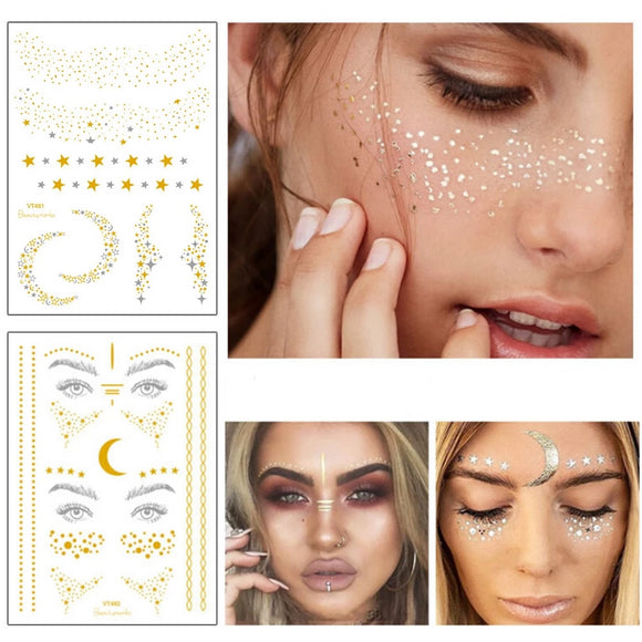 Itty Bitty Freckles!! | Silver & Gold Foil Tattoo | Festival Face Tattoos