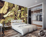 Retro Tropical Banana Leaves | Mural Wallpaper