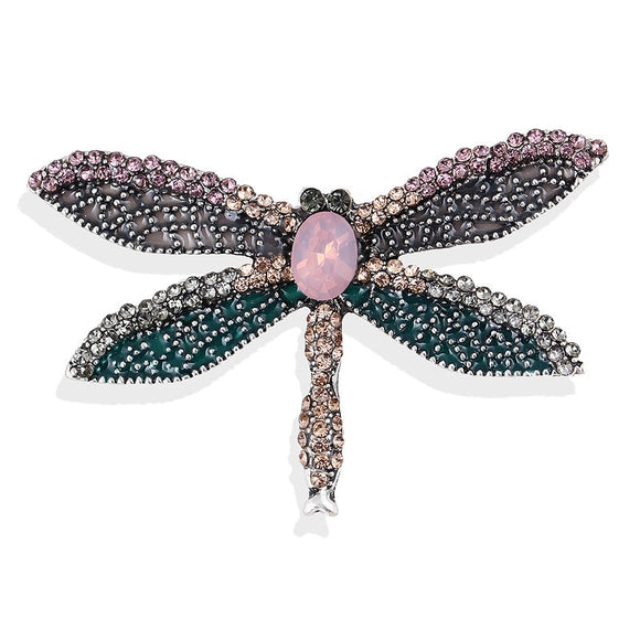 Enamel Dragonfly Brooch | Insect Pins | Corsage Gift | Dusty Pink & Teal Green
