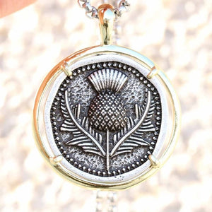 Scottish Thistle Medal Pendant Necklace