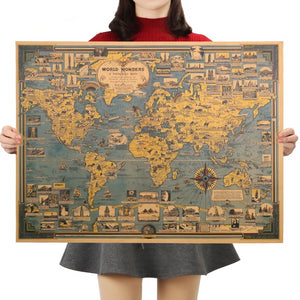 Wonders of the World | Blue Vintage World Map Poster |  68.5X51.5cm