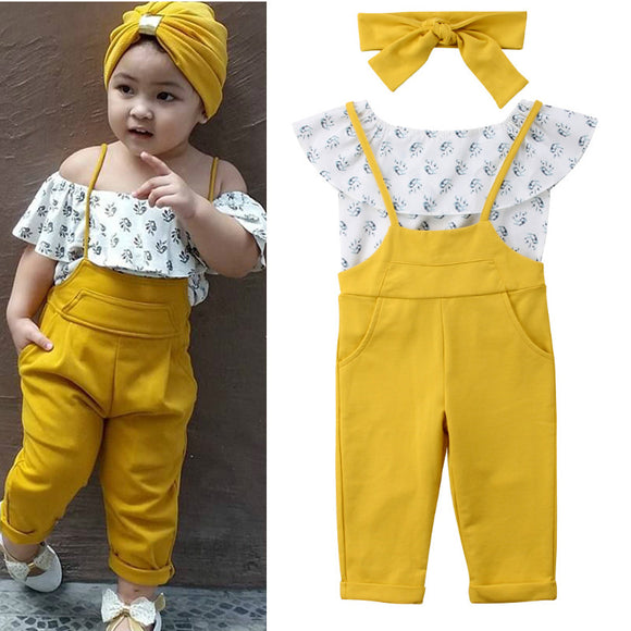 Toddler Girls Clothing | 3 Piece Set | Off Shoulder Top + Dungarees +  Headband