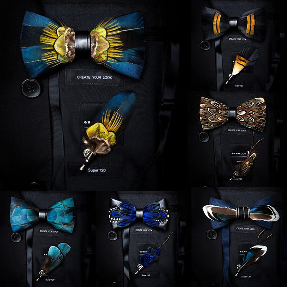 Bow Tie & Lapel Pin Men's Gift Set | Handmade Feather and Leather