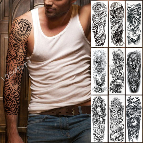 Large Arm Sleeve Tattoo | Waterproof Temporary Tattoo Sticker