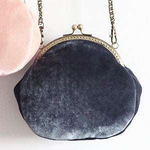 Velvet Clasp Pouch Bag with Chain