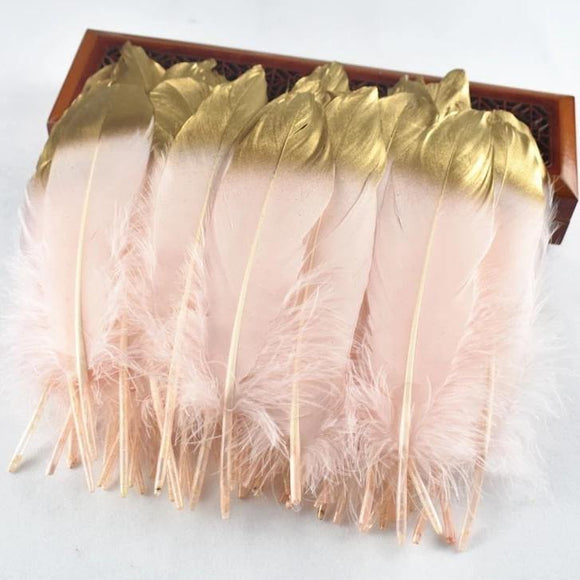 10Pcs/Lot Gold Dipped Goose Feathers | 15-20cm/6-8inches | DYI Crafts Decor