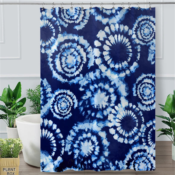 Indigo Blue Tie Dye Shower Curtain | Waterproof Bathroom Curtain With Hooks