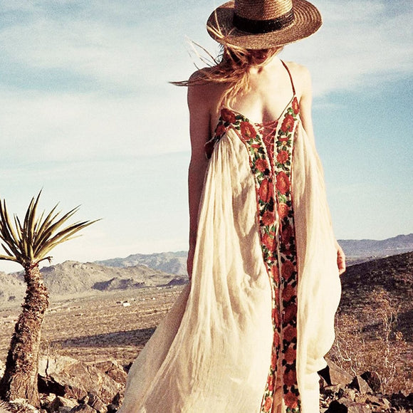 Embroidery Boho Maxi Dresses | Cotton Vintage Gypsy Style Flowing Dress