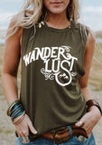 Wander Lust Tank Top | Army Green Tee